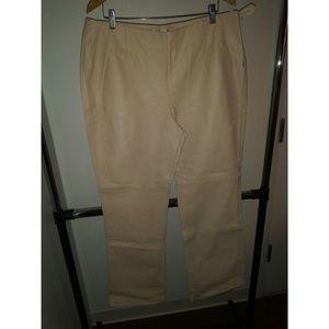 Cream Newport News leather pants